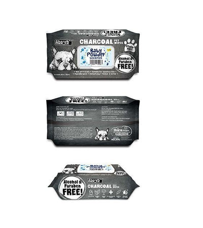 3 FOR $15: Absorb Plus Charcoal Hypoallergenic Pet Wipes (Baby Powder)