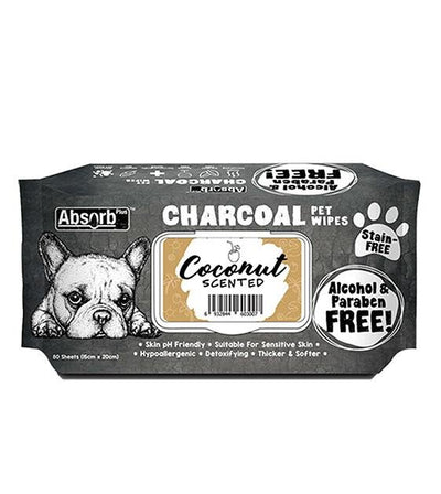 3 FOR $15: Absorb Plus Charcoal Hypoallergenic Pet Wipes (Coconut)