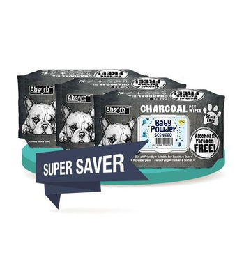3 FOR $15 [SAVER BUNDLE]: Absorb Plus Charcoal Hypoallergenic Pet Wipes