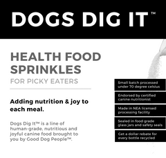 20% OFF: Dogs Dig It Health Food Sprinkles Dehydrated Dog Food
