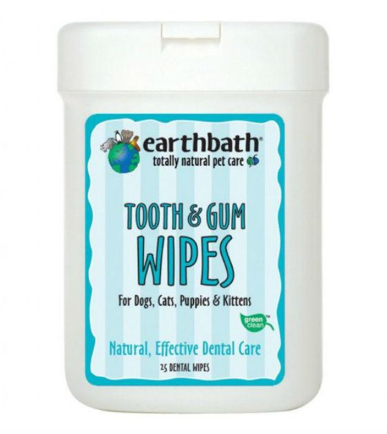 Earthbath Tooth & Gum Wipes For Dogs (25 wipes)