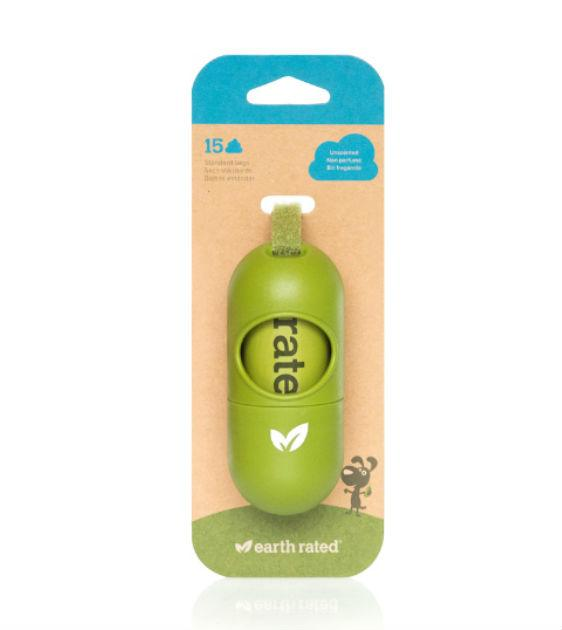 Earth Rated Eco-Friendly Leash Dispenser Bio Poop Bags (15 Unscented Bags)