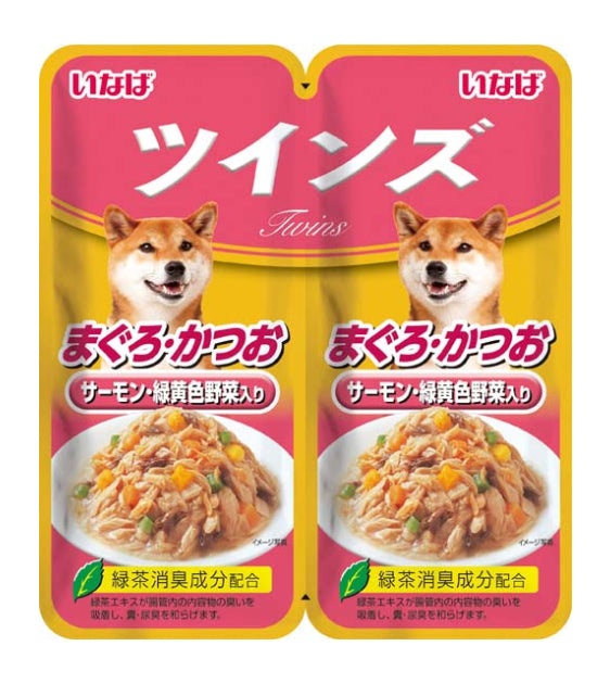 Inaba Tuna with Salmon & Vegetables Twin Pouch Twin Pouch Wet Dog Food [CTW53]