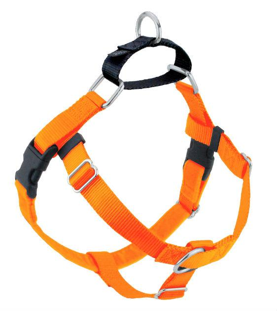 FREEDOM No-Pull Harness & Leash (Neon Orange/Black) For Dogs