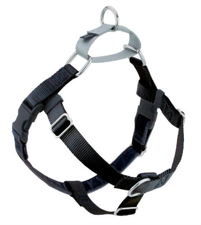 FREEDOM No-Pull Harness & Leash (Black/Silver) For Dogs