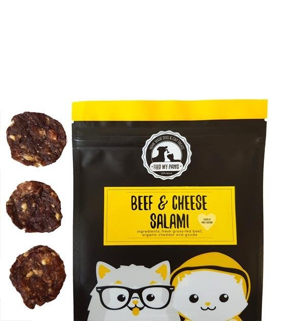 Feed My Paws Beef & Cheese Salami Jerky Cat & Dog Treats
