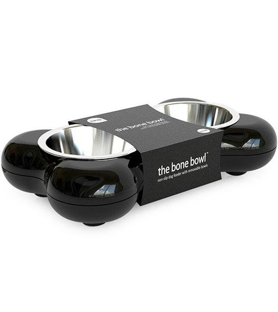 Hing Designs UK Made Non-Slip Stainless Steel Double Dog Bowl (Black)