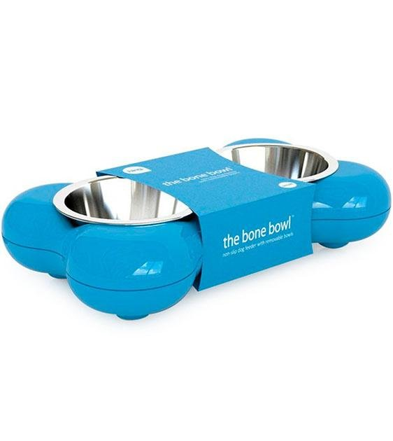 Hing Designs UK Made Non-Slip Stainless Steel Double Dog Bowl (Blue)