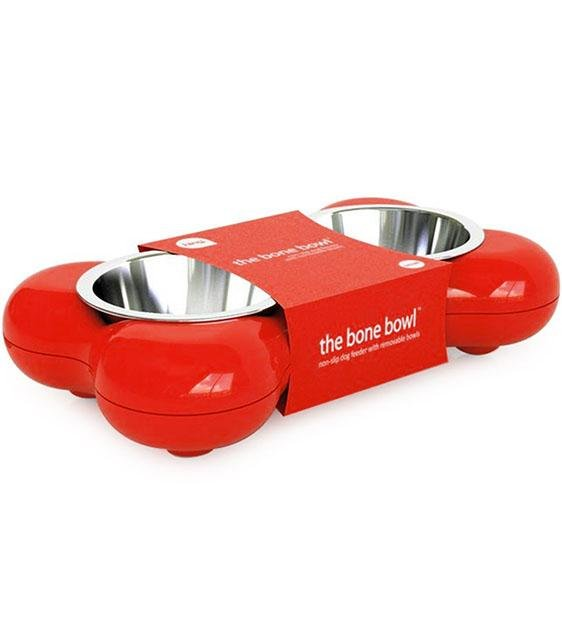 Hing Designs UK Made Non-Slip Stainless Steel Double Dog Bowl (Red)