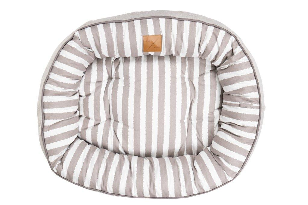 Mog & Bone Four Seasons Reversible (Latte Hamptons Stripe Print) Dog Bed
