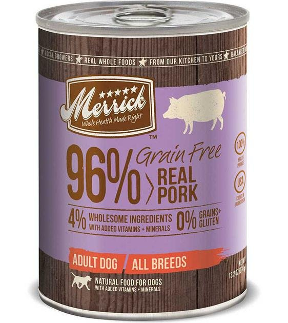 Merrick 96% Grain Free Real Pork Canned Dog Food