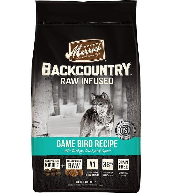 50% OFF + FREE TREATS: Merrick Backcountry Raw Infused Game Bird Recipe Dry Dog Food
