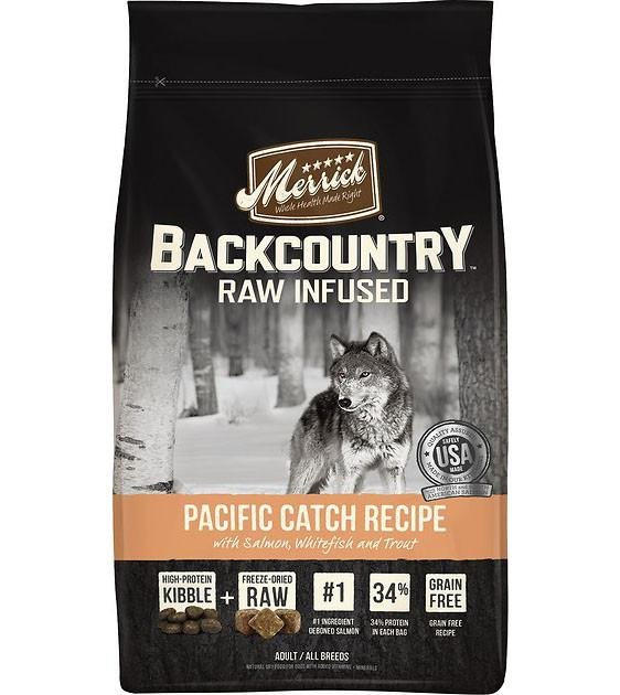 50% OFF + FREE TREATS: Merrick Backcountry Raw Infused Pacific Catch Recipe Dry Dog Food
