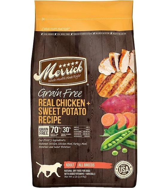 50% OFF + FREE TREATS: Merrick Grain Free Chicken with Sweet Potato Dry Dog Food