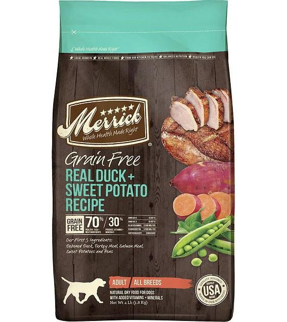 50% OFF + FREE TREATS: Merrick Grain Free Duck with Sweet Potato Dry Dog Food