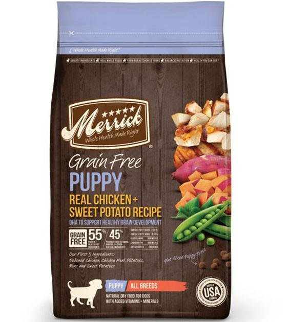 50% OFF + FREE TOPPER: Merrick Grain Free Puppy Recipes Dry Dog Food