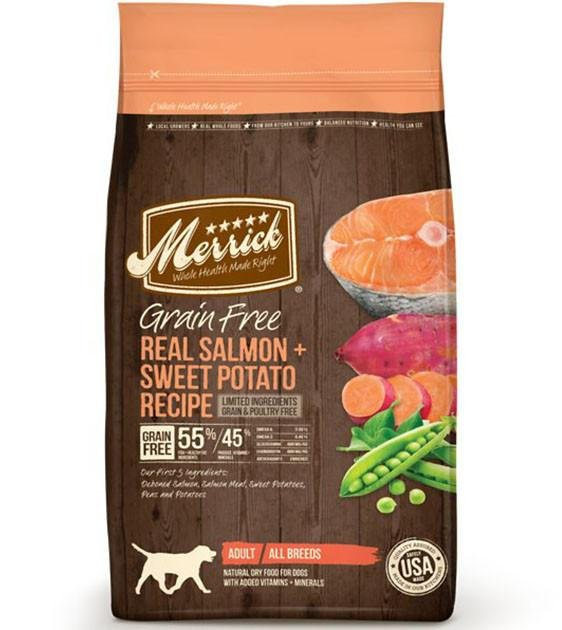 50% OFF + FREE TREATS: Merrick Grain Free Salmon with Sweet Potato Dry Dog Food
