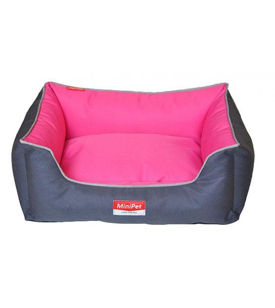 MiniPet Enhanced Water Resistant with Removable Cover Dog Bed (Grey & Pink)