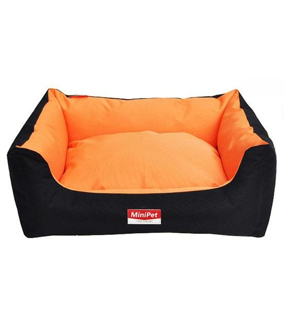MiniPet Water Resistant with Removable Cover Dog Bed (Black & Orange)