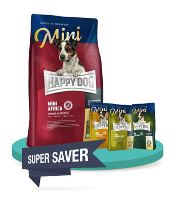 10% OFF + FREE TASTING PACK: Happy Dog MINI Grain Free Dry Dog Food 1kg
