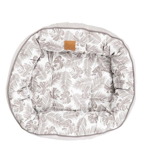 Mog & Bone Four Seasons Reversible Circular (Mocca Tropical Leaves Print) Dog Bed