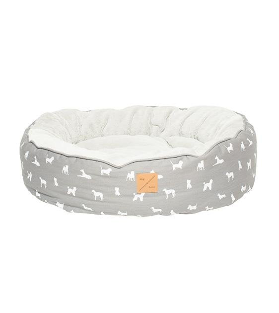 Mog & Bone Four Seasons Reversible & Washable Designer Dog Bed (Grey Dog)