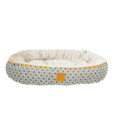Mog & Bone Four Seasons Reversible & Washable Designer Dog Bed (Grey Ikat)