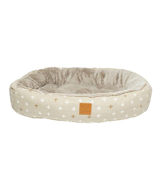 Mog & Bone Four Seasons Reversible & Washable Designer Dog Bed (Oatmeal Cross)