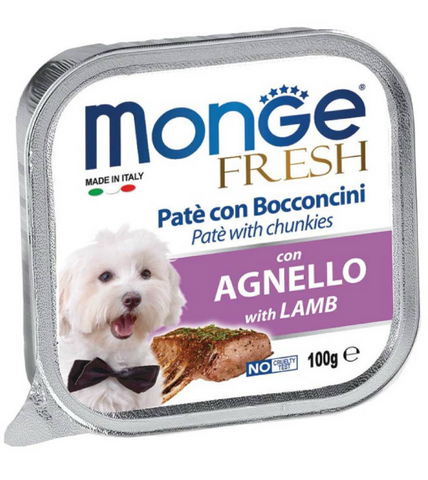 Monge Fresh Lamb Pate with Chunkies Tray Dog Food