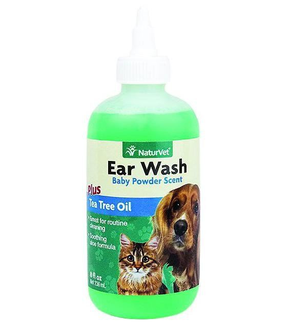 NaturVet - Ear Wash Plus Tea Tree Oil Topical Aid for Cats & Dogs