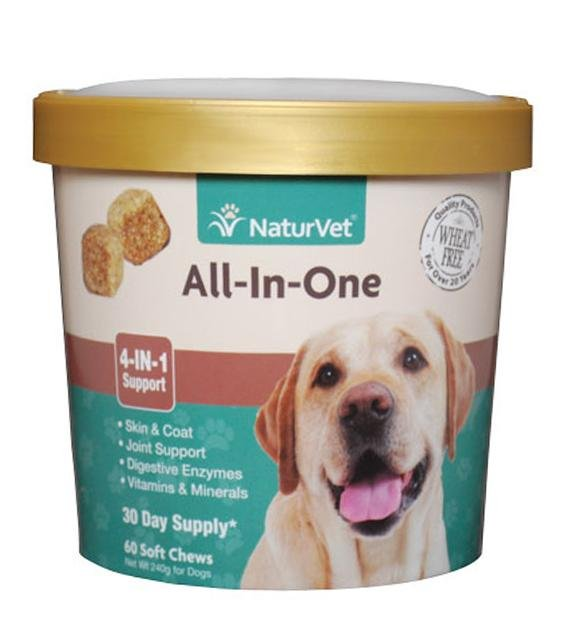 20% OFF: NaturVet All-In-One (Skin, Joint, Digestion & Immunity) Soft Chew Dog Supplement