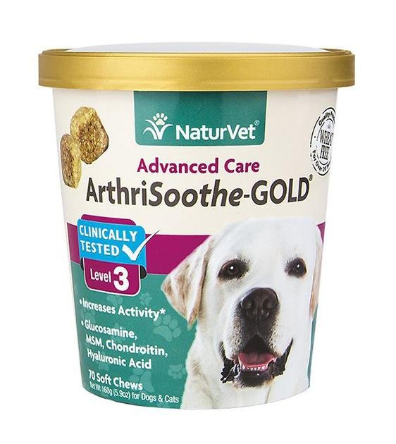 NaturVet ArthriSoothe GOLD (Level 3) Advanced Care Soft Chew Cat & Dog Supplement