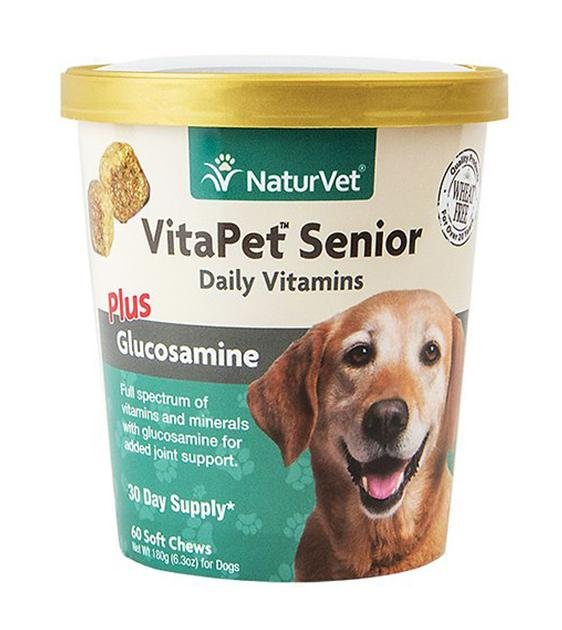 20% OFF: NaturVet VitaPet (Senior) Daily Vitamins Plus Glucosamine Soft Chew Dog Supplement