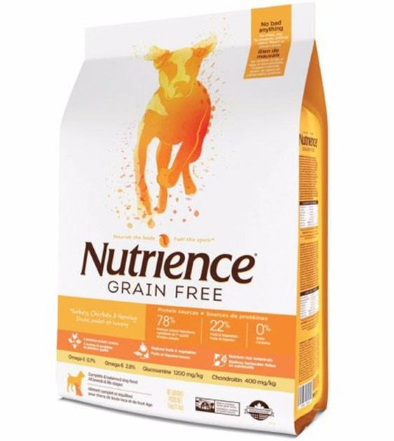 60% OFF + FREE TREAT: Nutrience Grain Free Turkey, Chicken & Herring Dog Food
