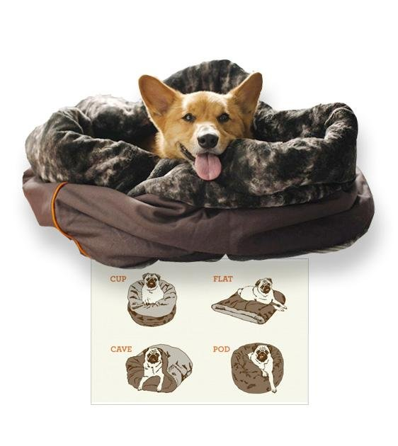 $99 ONLY: P.L.A.Y. Snuggle 4-In-1 (Cup, Cave, Pod or Flat) Truffle Brown Dog Bed