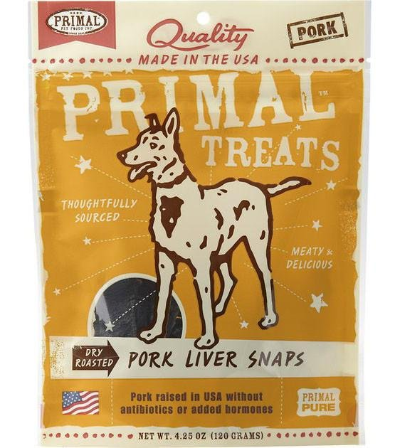 Primal Dry Roasted Pork Liver Lung Snaps Dog Treats