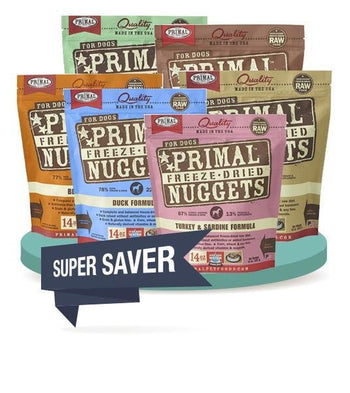 4 FOR $159.90 [SAVER BUNDLE]: Primal Freeze Dried Nuggets Dog Food 14oz