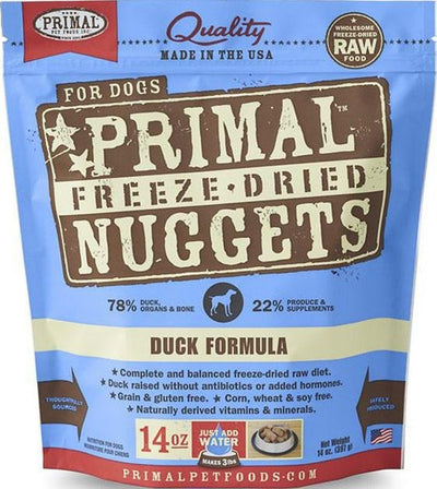 $40 ONLY: Primal Freeze Dried Nuggets Duck Formula Dog Food