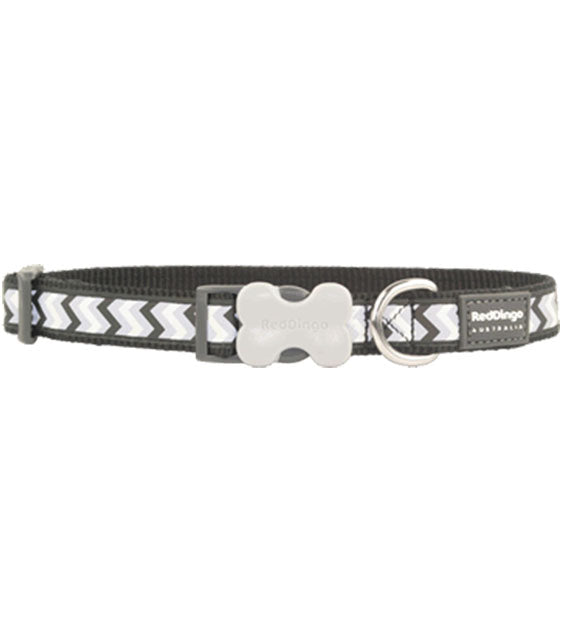 Red Dingo Ziggy Reflective Dog Collar (Black)