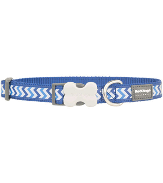 Red Dingo Ziggy Reflective Dog Collar (Blue)