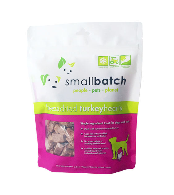 Small Batch Freeze Dried Turkey Hearts Cat & Dog Treats