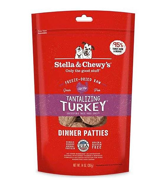 3 FOR $138: Stella & Chewy's Freeze Dried Tantalizing Turkey Dinner Patties Dog Food