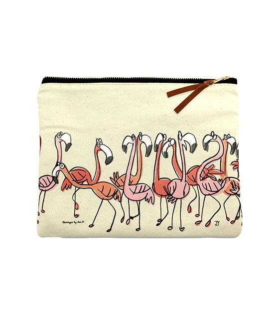 The Animal Project Canvas Pouch (Flamingoes By Jun-Yi)