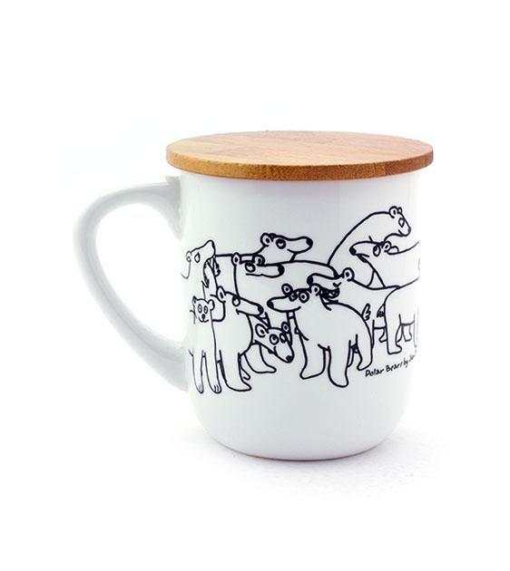 The Animal Project U-Mug With Wooden Lid (Polar Bears By Jun-Yi)