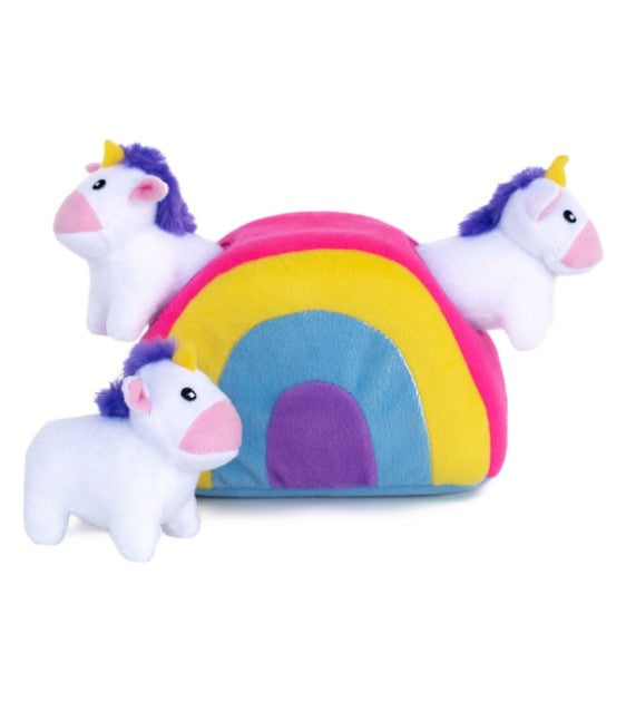 ZippyPaws Burrow Unicorns in Rainbow Zippy Dog Toy