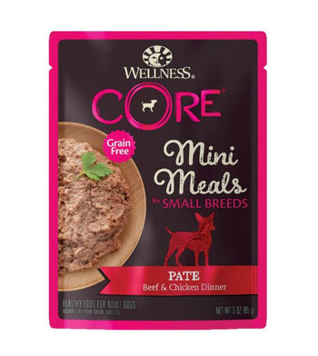 BUY 3 FREE 1: Wellness CORE Mini Meals (Small Breed) Pate Beef & Chicken Dinner Dog Food Mixer