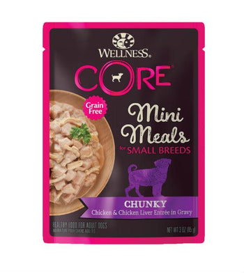 BUY 3 FREE 1: Wellness CORE Small Breed Mini Meals Chunky Chicken & Chicken Liver Dog Food Mixer
