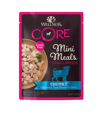 BUY 3 FREE 1: Wellness CORE Small Breed Mini Meals Chunky Chicken & Tuna Dog Food Mixer