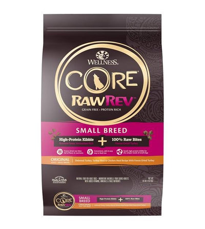 20% OFF + FREE CHEWS: Wellness CORE RawRev Grain Free (Small Breed) with Freeze Dried Turkey Dry Dog Food