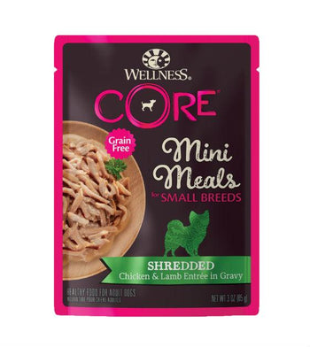 BUY 3 FREE 1: Wellness CORE Small Breed Mini Meals Shredded Chicken & Lamb Entree in Gravy Dog Food Mixer